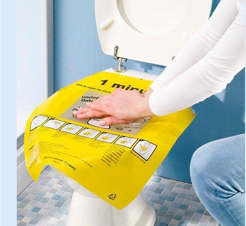 Bee 400165Toiletten-Abflussreiniger, Schnelles Entleeren und Reinigen für WCs, Kunststoff, gelb,40 x 47cm,2 Stück