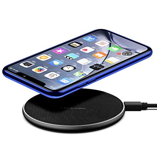 Caricabatterie wireless veloce 10 W 7,5 W 5 W caricatore a induzione rapida per telefoni portatili, compatibile con iPhone Samsung Galaxy AirPods Pro, Huawei Xiaomi Universale (Nero)