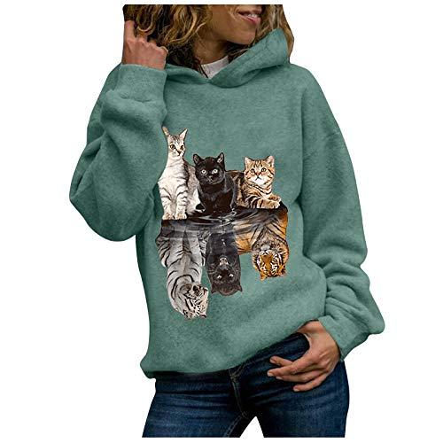 Sudaderas Mujer Baratas con Capucha 2020 Invierno Mujeres Animal Gato impresión Sudaderas con Capucha Sudadera Manga Larga más tamaño Jersey Abrigo pulóver Blusas Tops