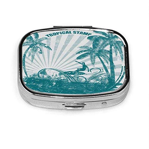 Pastillero: pastillero con compartimentos, pastillero cuadrado, se puede utilizar para monedero, pastillero de viaje para surf