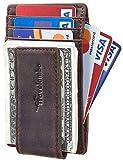 Travelambo Money Clip Front Pocket Wallet Slim Minimalist Wallet RFID Blocking (Matte Coffee)