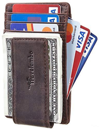 Travelambo Money Clip Front Pocket Wallet Slim Minimalist Wallet RFID Blocking (Coffee)