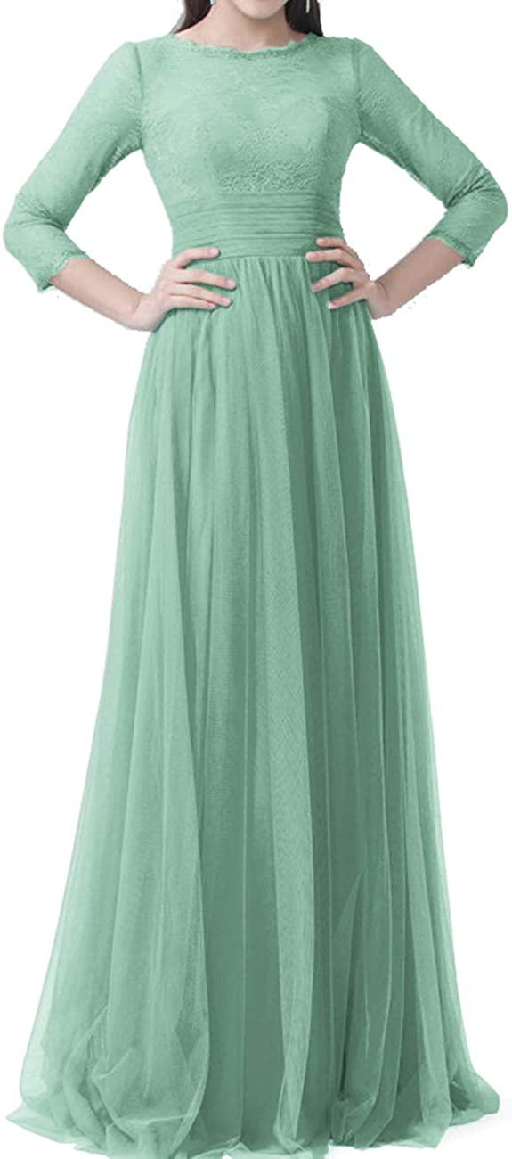 Prom Dresses Lace Long Sleeves Bridesmaid Dress Tulle Formal Evening Gowns Prom Dress