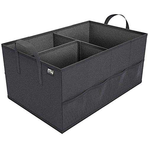 MIU COLOR Car Trunk Organizer with 8 Mesh Pockets Collapsible Cargo Storage Containers with Strap Handle for Sedan SUV, Black