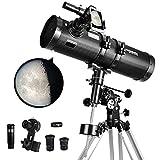 Telescope 130EQ Newtonian Reflector Telescopes for Adults, Professional Telescopes for Adults Astronomy, Comes with 1.5X Barlow Lens Smartphone Adapter & 13% T Moon Filter