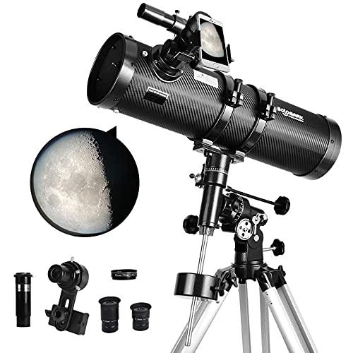 망원경 130EQ 뉴턴 리플렉터 성인을위한 뉴턴 리플렉터 망원경 성인 전문 망원경 천문학 1.5X BARLOW 렌즈 스마트 폰 어댑터 및 13 % T 달 필터가 제공됩니다