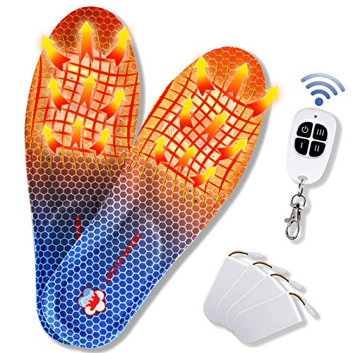 Heated Insoles,Rechargeable Foot Warmer,Battery-Powered Electric Heated Insole with Remote Wireless Control Adjustable Temperature for Men Women(4- Battery) (Navy, M 9.5-11)
