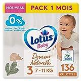 LOTUS BABY Douceur Natural – Bragas talla 3 (7-11 kg) Pack 1 mes – 136 bragas