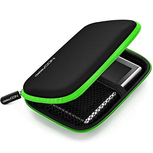 deleyCON Navi Tasche Navi Hülle Tasche für Navigationsgeräte - 4,3 Zoll und 5 Zoll (14,6x9,3x3,4cm) - Robust Stoßsicher 2 Innenfächer - Grün
