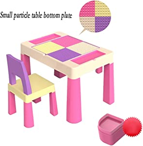 CHAXIA Child Table Chair Toy Game Table Plastic Dining Table Small Particles Building Blocks Table Stable And Durable  Styles  Color