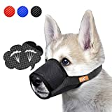 Dog Muzzle Breathable Mesh Mask for Biting, Barking and Chewing, Cover with Hook