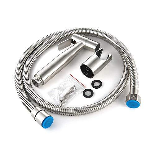 Kit Bidet WC avec Douchette - Pulverisateur Bidet a Main- Pomme de Douche Toilette avec Tuyau + Support en Inox + 2 Joint