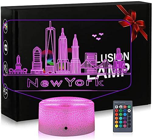3D ilusión LampNew York Estado Navidad regalo noche luz 16 colores cambio automático interruptor táctil decoración escritorio lámparas regalo cumpleaños