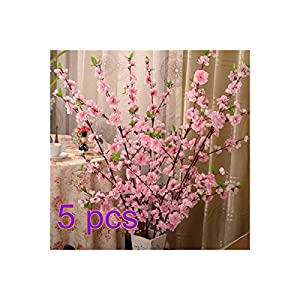 BELUPAID Artificial Spring Peach Blossom Cherry Plum Bouquet Branch Silk Flower, Artificial Fake Flowers for Wedding Home Office Party Hotel Garden Yard Tree Decoration (Pink)