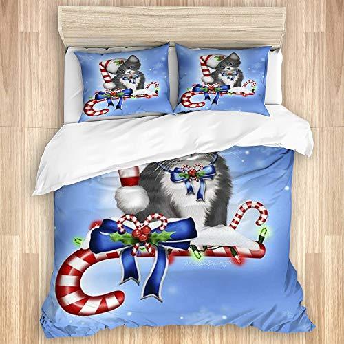 VAMIX Juego de Funda de edredón y de Almohada de Microfibra,Estampado de Gato Candy Cane Kitten,Funda nórdica cama-200 x 200 cm