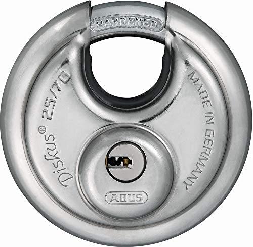 ABUS Diskus® Vorhängeschloss 25/70 mit 360° Rundumschutz - inkl. 5 Schlüssel - mit präzisem Wendeschlüssel-System - 35825 - Level 8 - Silber