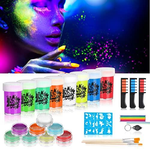 Creamify Pintura Corporal-Pinturas Cara y Corporales,Pintura Fluorescente de neón,con 8*Pintura Corporal UV de, 8*Pintura Facial de,3*Tiza para el Cabello,3* Pinceles de Pintura para Fiestas