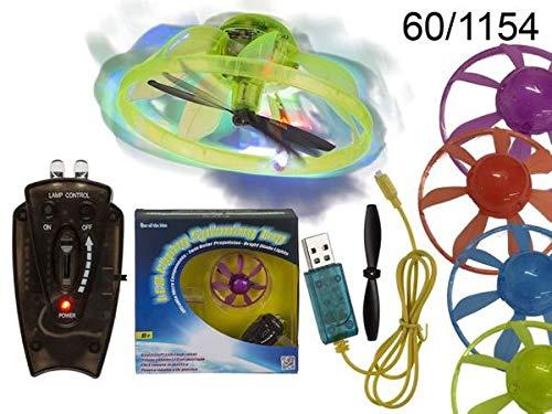 OOTB Kunststoff-Flugkreisel mit LED D: ca. 7 cm, 4-Farbig Sortiert, mit Controller & USB-Ladekabel # 60/1154