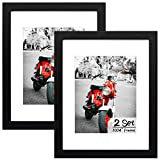 Set of 2, 11x14 Black Wooden Picture Frame - White Mat for 8x10 Photo - Wall Display - Perfect for Group/Family Photos - Landscape/Portrait - Real Glass - Simple Classic Design