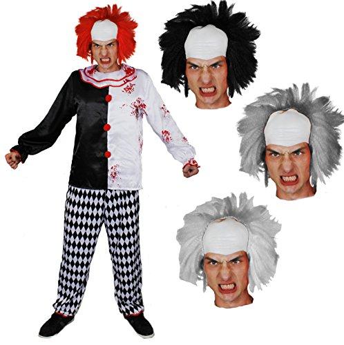 Disfraz de asesino para adultos + peluca blanca con cabeza blanca, parte superior de tela de loco y pantalón perfecto para disfraz de mujer (talla XXL)