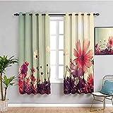 JYDFC Cortinas opacas para dormitorio con ojales, impresión digital 3D, cortinas perforadas, para sala de estar, dormitorio, cocina, guardería, 55 x 63 pulgadas, diseño de flores solares, simplicidad