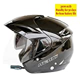 MJW Modular Motorcycle Helmets Bluetooth headset DOT Flip Up Touring Helmets Equipped 3000mAh dual-speaker with microphone for automatic answering,brightblack,XL