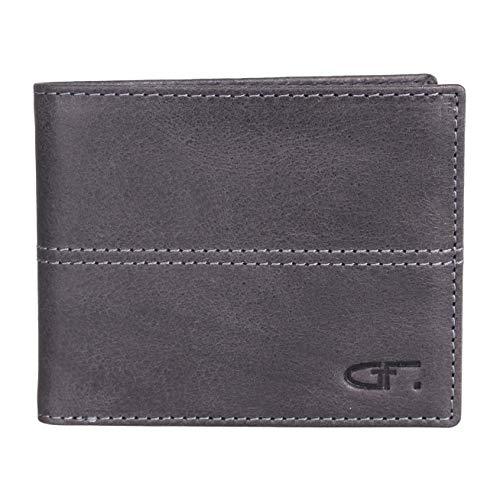 Gino Ferrari Herren-Geldbörse aus echtem Leder, RFID-blockierend, weich, glatt, strapazierfähig, zweifach faltbar, für Karten und Münzhalter Schwarz Schwarz M