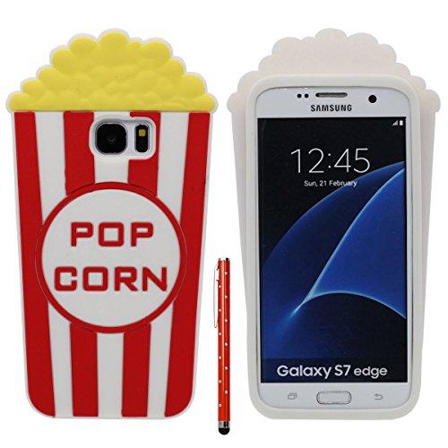 Desconocido Samsung S7 Edge Funda Case Moda, Suave Ligero Silicona Carcasa para Samsung Galaxy S7 Edge, Antigolpes 360° Proteccion Original Bonita Palomitas de maiz Apariencia Diseño X 1 Lápiz óptico