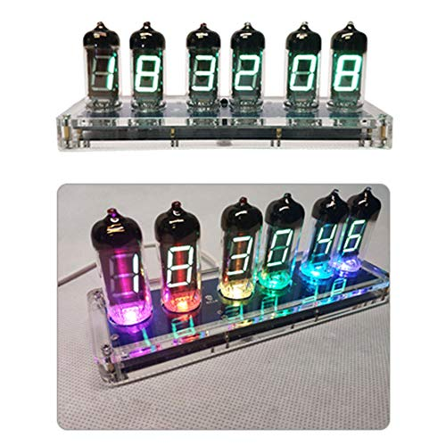 Enwebalay Nixie Tube Clock, Led Glow Tube Clock Bluetooth-Steuerung Dimmen, Umweltschutz Nixie RöHrenuhr EIN-Aus-Timer Klingeltonauswahl,Transparent Acrylic