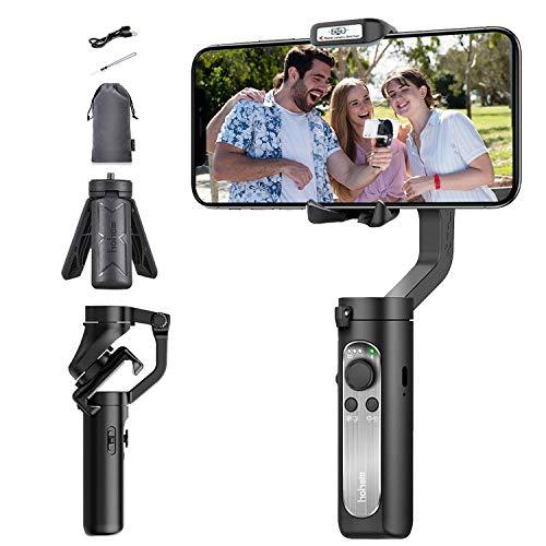 Stabilisateur de cardan pour Smartphone 259g Ultra-léger 280g Charge utile Selfie Stick Mode Low-Angle Shooting Mode Moment Mode, avec trépied et Sac de Transport Hohem isteady X Black