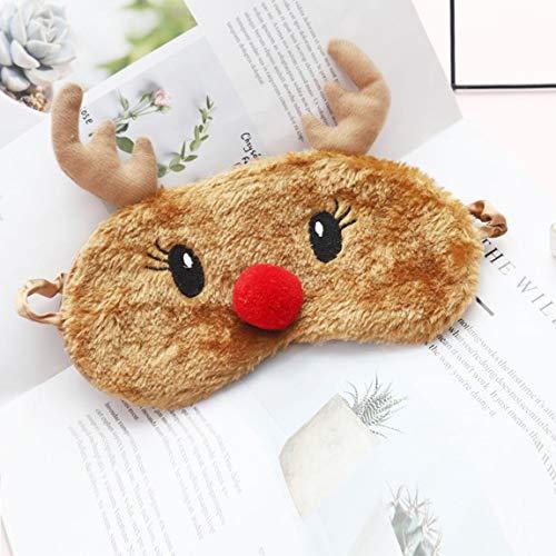 SeniorMar Rentier Eye Blinder Plüsch Schlafmasken Einstellbare Schlafmaske für Weihnachten Cute Animal Sleeping Eye Mask
