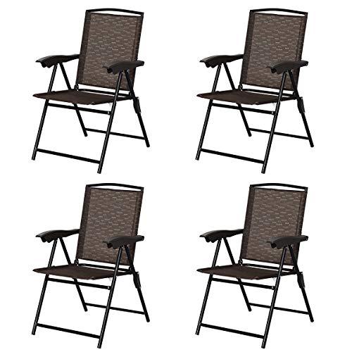 Giantex Set of 4 Patio Folding Chairs, Adjustable Sling Back Chairs with Armrest, Patio Dining Chairs Portable for Camping Garden Pool Beach, Deck Lounge Chairs (Brown)