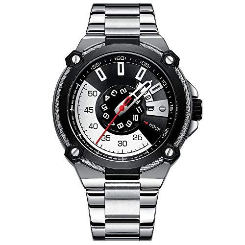 Eantpure Business Casual Reloj,Reloj de Cuarzo Resistente al Agua, Reloj con Banda de Acero, Reloj Masculino con Calendario Comercial-B,Impermeable Elegante Relojes