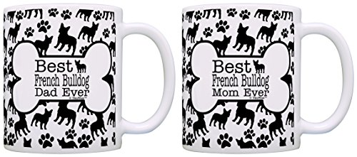 Best French Bulldog Mom Dad Ever Bundle Paws Dogs 2 Pack Gift Coffee Mugs Tea Cups Bone Pattern