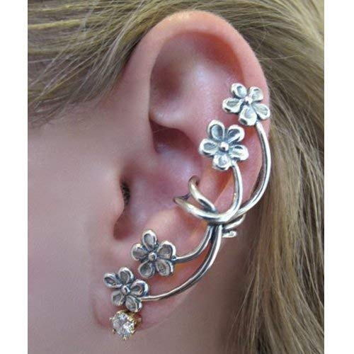 Flower Ear Cuff Silver Forget Me Not Flower Earcuff Flower Earring Flower Jewelry Non Pierced Ear Cuffs Floral Jewelry Boho Jewelry Hippie