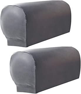 ZEENEEK 2pcs Sofa Armrest Covers,Armchair Arm Covers Stretch Sofa Arm Caps Armrest Covers for Chairs Furniture Protector Set,Armrest Covers Spandex PU Leather Arm Caps for Arm Slipcovers (Grey)