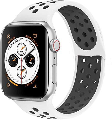 Armband für Apple Watch, 38 mm, 40 mm, 42 mm, 44 mm, Ersatzarmband aus weichem Silikon, Sport-Armband mit Luftlöchern, passend für Serien 5, 4, 3, 2, 1., weiß / schwarz, 42 mm / 44 mm