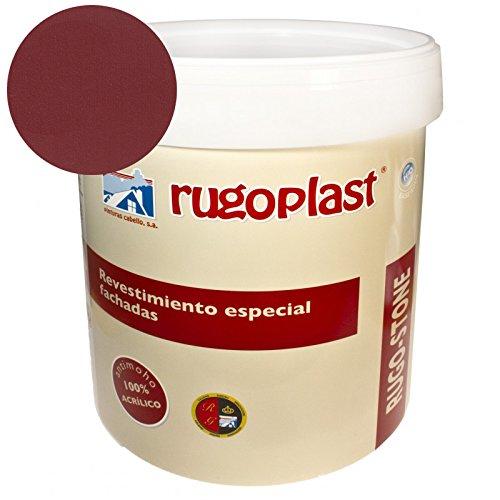 Rugoplast - Pintura revestimiento especial fachadas Rugo Stone Colores ideal para dar un toque de color a las paredes exteriores de tu casa, Rojo Teja, 4 L
