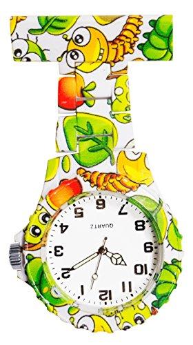 Ellemka - Schwestern | Herren Damen Unisex | FOB Ansteckuhr | Analoge Uhranzeige | Digitales Quartz Uhrwerk| NS-2102 N Plastik ABS Pin Band | Art Design - Cute Bugs