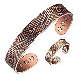 Juego de pulsera y anillo de cobre para hombre, tamaño ajustable
