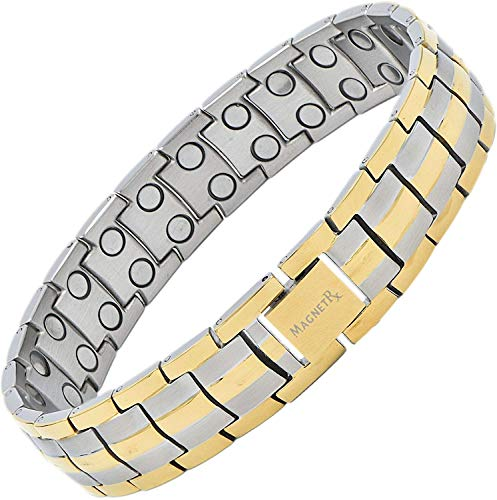 MagnetRX Ultra Strength Magnetic Therapy Bracelet | Arthritis Pain Relief and Carpal Tunnel Magnetic Bracelets for Men | Adjustable with Gift Box (Silver & Gold)