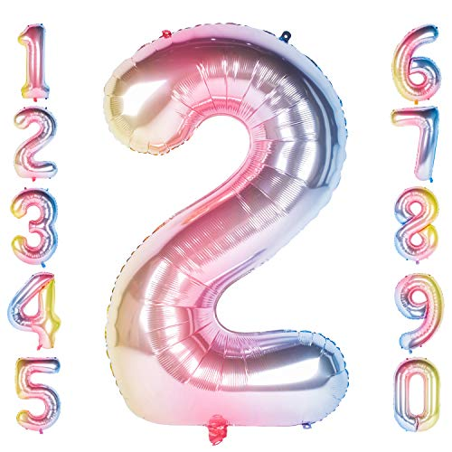 CHANGZHONG 40 Zoll 0 to 9 in Regenbogen Nummer Folienballon Helium Zahlenballon Luftballon Riesenzahl Party Hochzeit Kindergeburtstag Geburtstag (Number 2)
