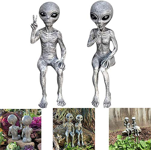 Alien Statue Set Resin Art Two Art Outer Space Small Decorations Interesting Home Furnishing Crafts Bedroom Office Garden Decorations