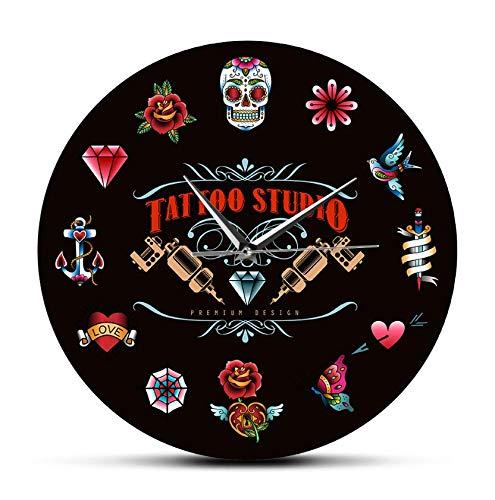 30cm Reloj De Pared Acrílico Tattoo Studio Premium Design Reloj de Pared Moderno Negro sin tictac Estilo Vintage Hipster Hombres Salon Studio Tattooist Artista Regalo