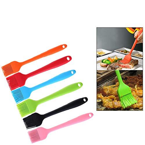 Guizu Silikon-Backpinsel Flexxibel, Küchen-Pinsel mit Silikon-Borsten, Küchensilikonbürste Spülmaschinengeeignet Silikon Pinsel Zum Backen,Grill,Backküche,öl,Desserts Kuchen (6-teiliges Set)