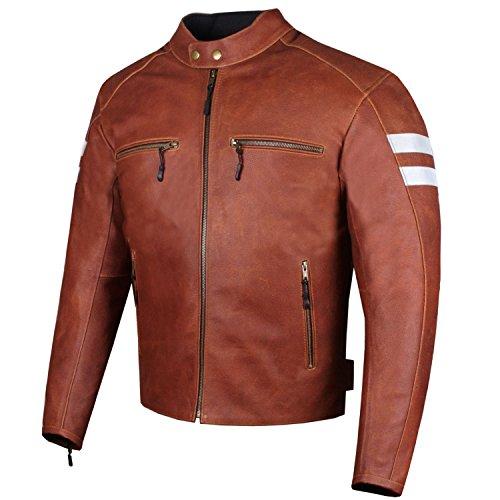 Men's Genuine Leather Jacket Motorcycle CE Armor Biker Safety Cruiser Brown L