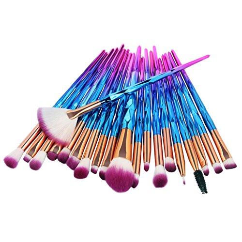 20 Pieces Makeup Brushes Set Kit, Staron Makeup Brush Set Foundation Cosmetics Face Eyebrow Eyeliner Blush Lip Cosmetic Powder Blending Makeup Brushes Tool (Blue)