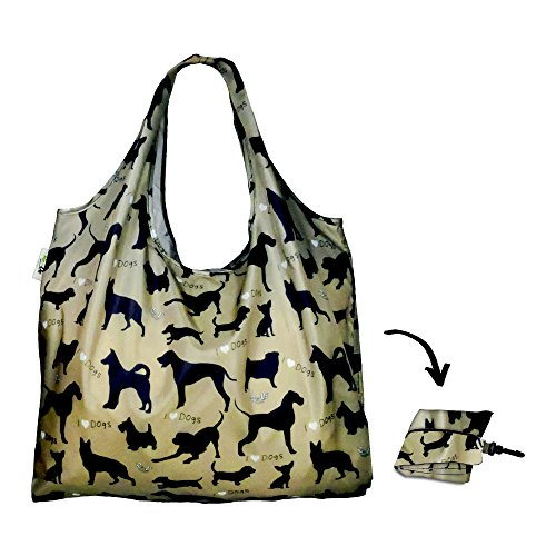 Re-uz Lifestyle XL Sac à main pliable Sac à courses épicerie réutilisable – I Love Chiens Sage