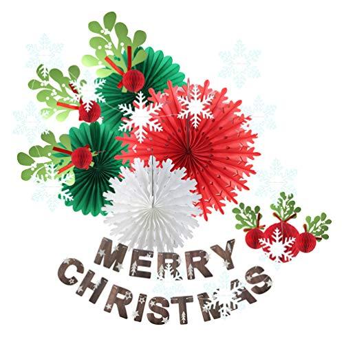 SUNBEAUTY クリスマス飾り付けセット【クリスマスガーランド ペーパーファン クリスマスツリーの葉っぱ 雪花ガーランド】クリスマスパーティー ホームデコレーション 写真背景