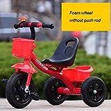 Xiaoping Las Bicicletas de Tres Ruedas for niños Hombre Y Bicicleta de la Hembra del bebé Los niños (2-6 años) El Carro de bebé (Size : Foam Wheel Without Pole)